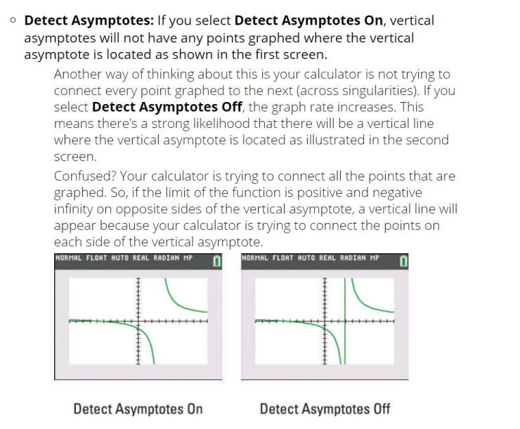 detect asymptotoes