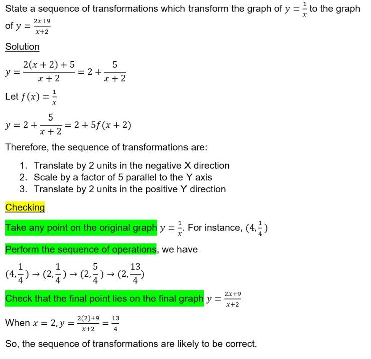 sequence of transformation check
