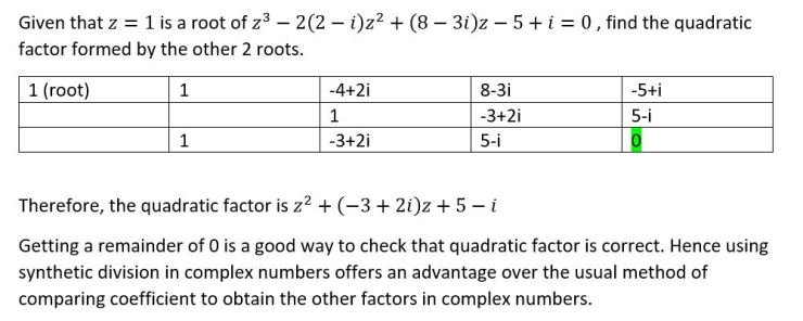 synthetic division in complex numbers