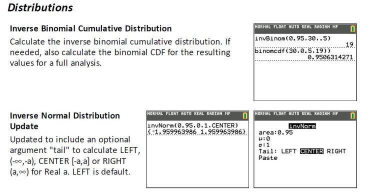 TI 84 CE inverse binomial and inverse norm