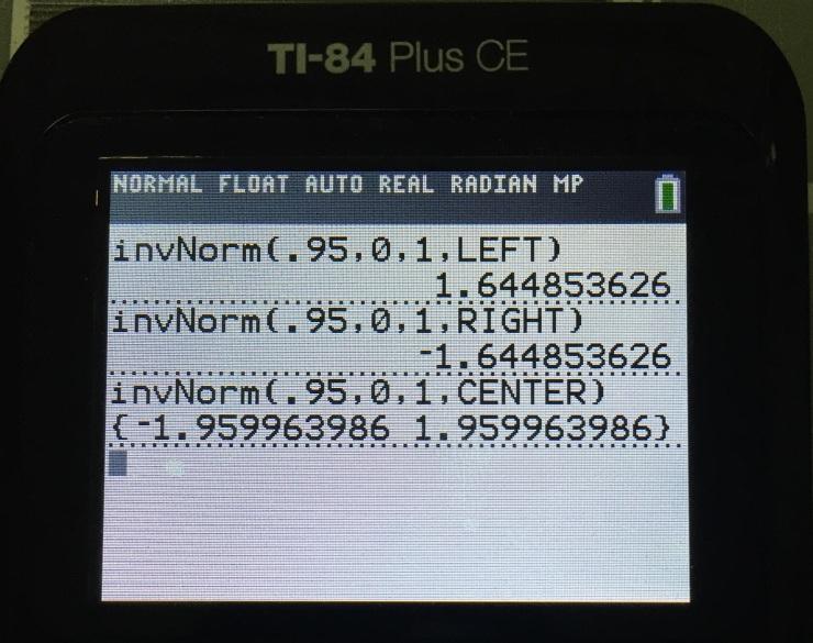 Ti 84 ce inverse norm